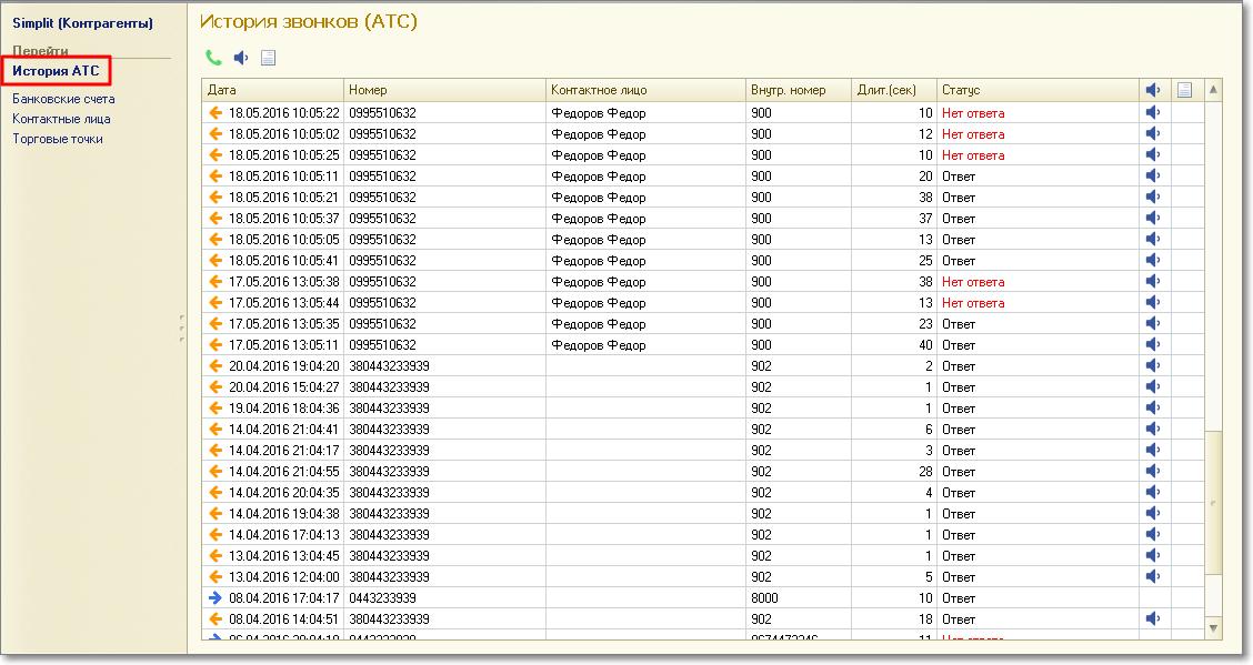 Вихідні дзвінки в вікні програми Bon Sens