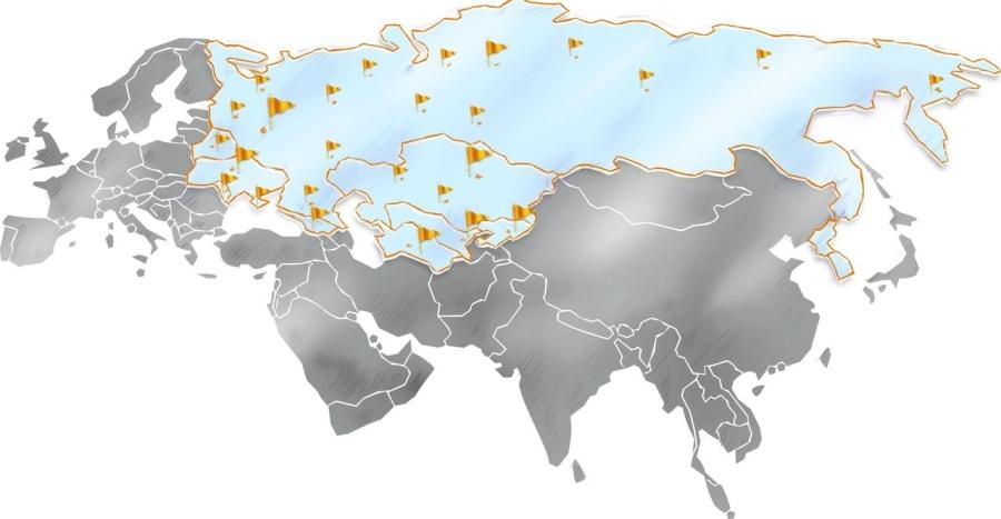 География клиентов компании Bon Sens - пользователи программы